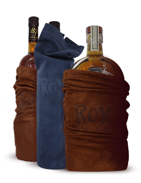Bottles in leather bags