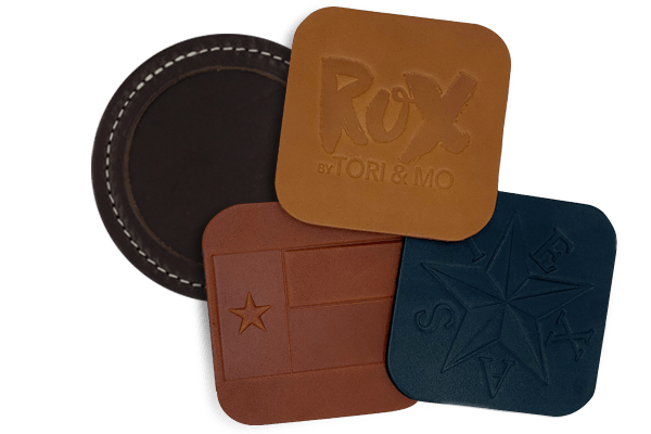 Round and square leather coasters variety